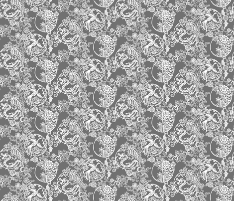Pieces of China- Clusters on grey small scale fabric by ladykerry on Spoonflower - custom fabric