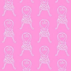 garden chairs in pink