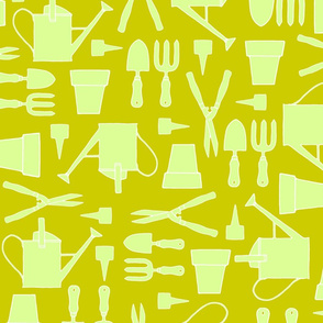 garden tools spring green on olive green