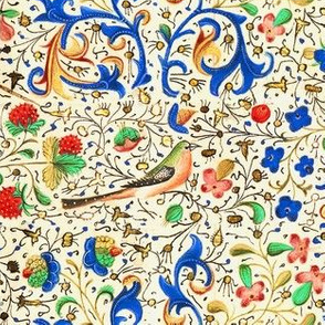 Illuminated Manuscript with Birds, Flowers, Strawberries, and Vines