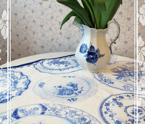 Blue Plates Tea Towel