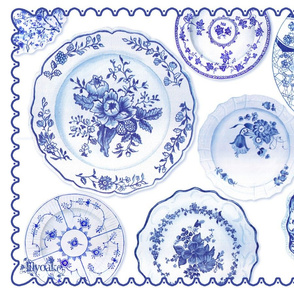 Blue Plates Tea Towel