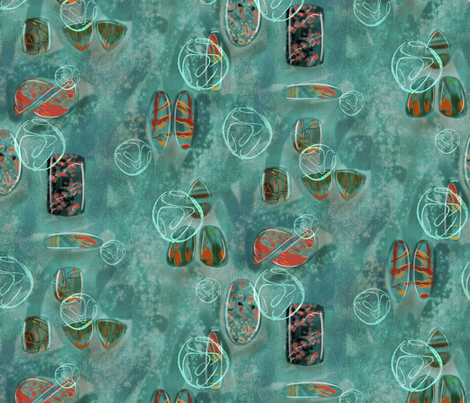 gemstones dark teal fabric by vinpauld on Spoonflower - custom fabric