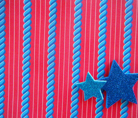 Blue Cablestripe (on Red)