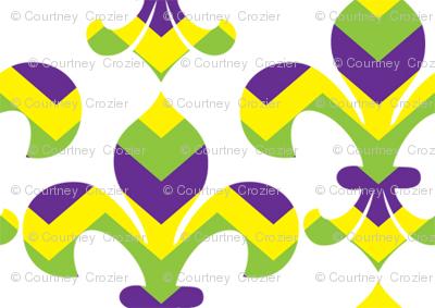 Mardi Gras Fleur de Lis Chevron