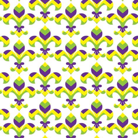 Mardi Gras Fleur de Lis Chevron fabric by writefullysew on Spoonflower - custom fabric