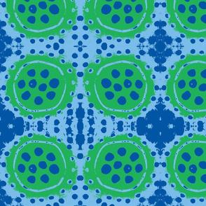 Reverse Blue Dots on Green