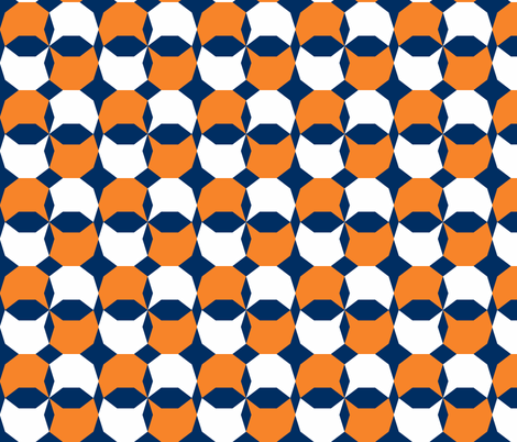 decagon orange - white - navy fabric by arm_pillozzz on Spoonflower - custom fabric