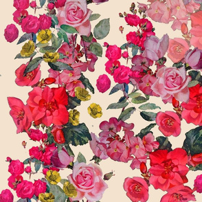 Antique Roses Floral Print on Off White