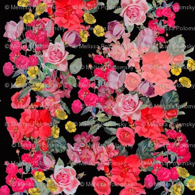 Antique Floral Print on Black