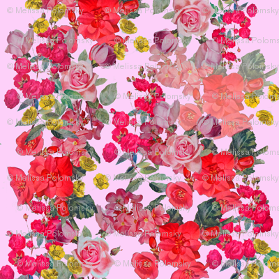 Vintage Inspired Floral Print on Pink