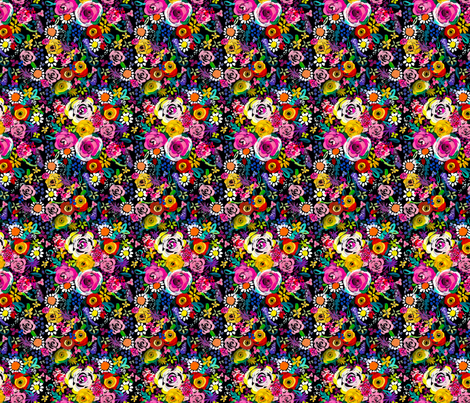 Les Fleurs // Black fabric by theartwerks on Spoonflower - custom fabric