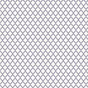 quatrefoil purple on white - small