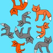 Fox Print on Blue