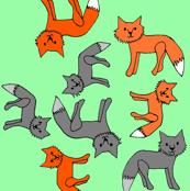 Fox Print on Green