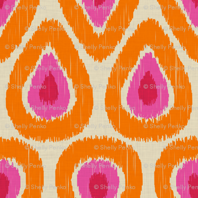 Pink and Orange Ikat Drops on Linen