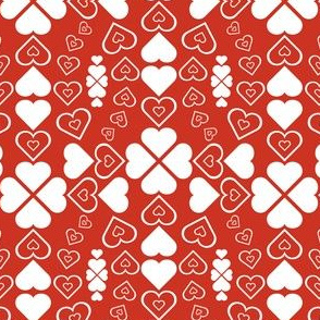 Dancing Hearts on Red