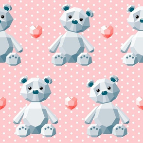 crystal bears on pink