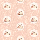 Bunny love in retro peach polka dot flower