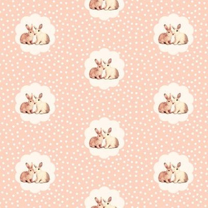Bunnies in Love, Retro Peach Polka Dot Flower