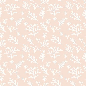 Seaweed Branches White on Soft Peach
