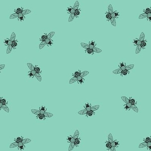Bee in Black on Deep Mint