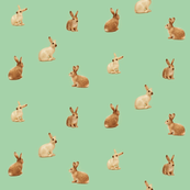 caramel bunnies on peppermint green, wide spaced