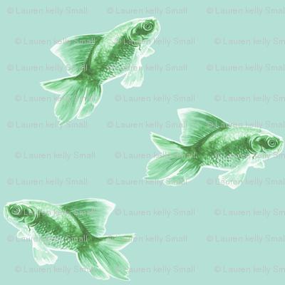 Green Fish on Pale Seafoam