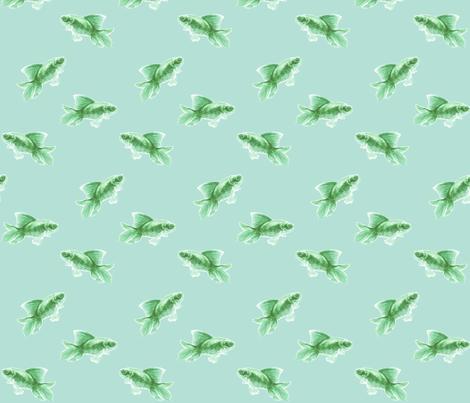 Green Fish on Pale Seafoam fabric by thistleandfox on Spoonflower - custom fabric