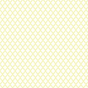 quatrefoil lemon yellow on white - small