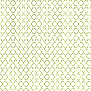 quatrefoil lime green on white - small