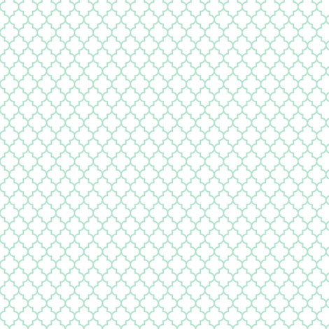 quatrefoil mint green on white - small fabric by misstiina on Spoonflower - custom fabric