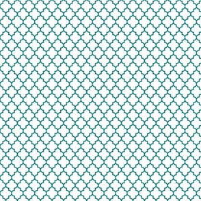 quatrefoil dark teal on white - small