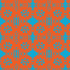 Reverse Turquoise Dots on Orange