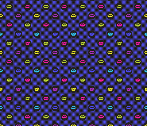 Bright Lipstick in blue fabric by claudiaowen on Spoonflower - custom fabric