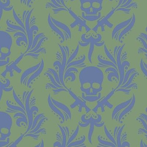 Blue-Green-Damask-Skulls