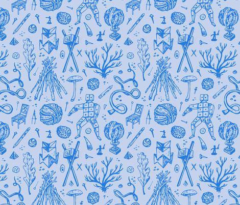 Shangri La - Blue fabric by paulantonson on Spoonflower - custom fabric
