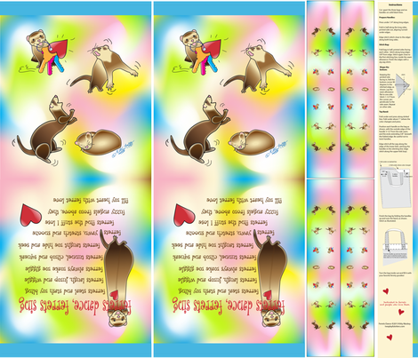 """Ferrets Dance Tote Bags for 42"""" wide fabrics fabric by kittymackey on Spoonflower - custom fabric"""