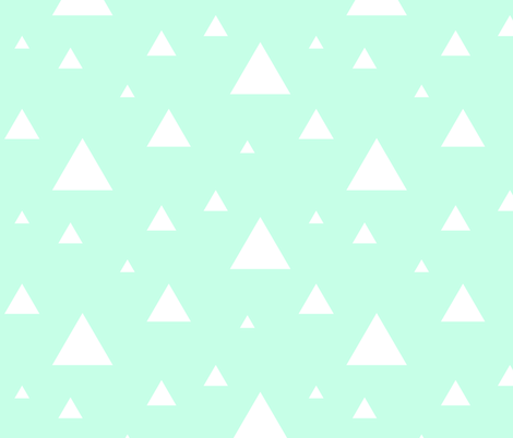 White Triangles on Mint fabric by sierra_gallagher on Spoonflower - custom fabric