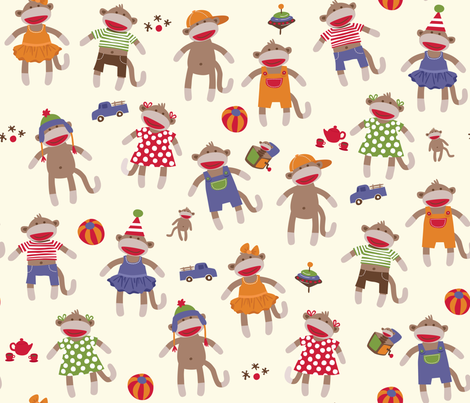Sock Monkey Manners fabric by bzbdesigner on Spoonflower - custom fabric