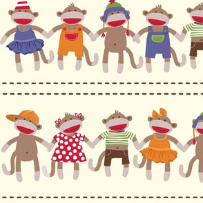 Sock Monkey Manners border stripe