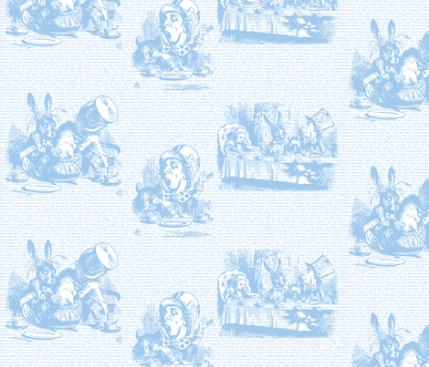Alice Vintage Text Toile Blue/White (small) fabric by ophelia on Spoonflower - custom fabric