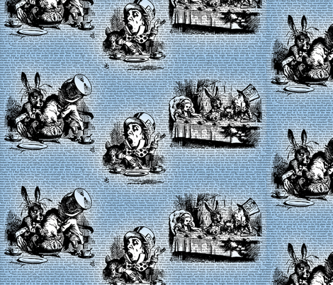 Alice Vintage Text Toile Blue (small) fabric by ophelia on Spoonflower - custom fabric