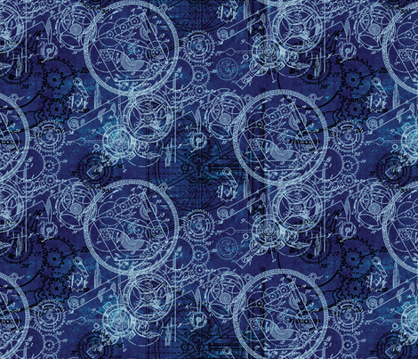Clockwork Collage Blue fabric by ophelia on Spoonflower - custom fabric