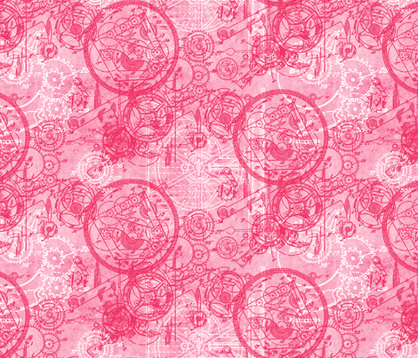 Clockwork Collage Pink fabric by ophelia on Spoonflower - custom fabric