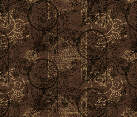 Clockwork Collage Brown fabric by ophelia on Spoonflower - custom fabric