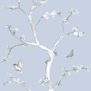 Jenny Modern cherry blossoms on cornflower