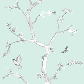 Jenny Modern cherry blossoms on mint