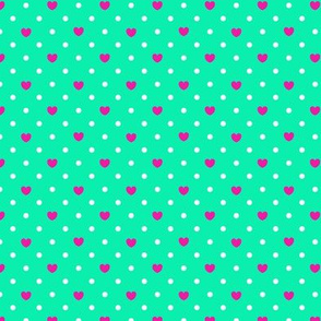 Polka hearts pattern in pink