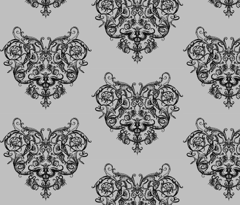 Grotesquerie Heart fabric by ophelia on Spoonflower - custom fabric
